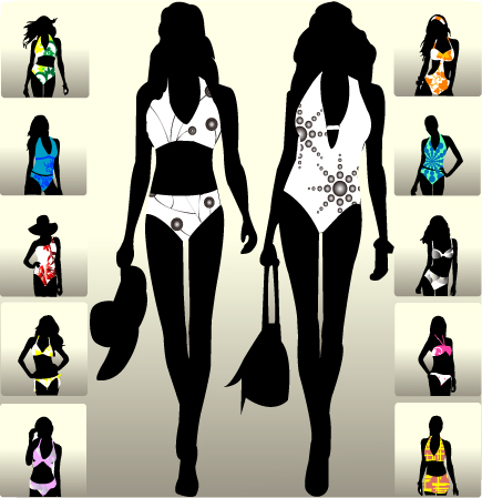 free vector Beautiful girl figure 2 vector