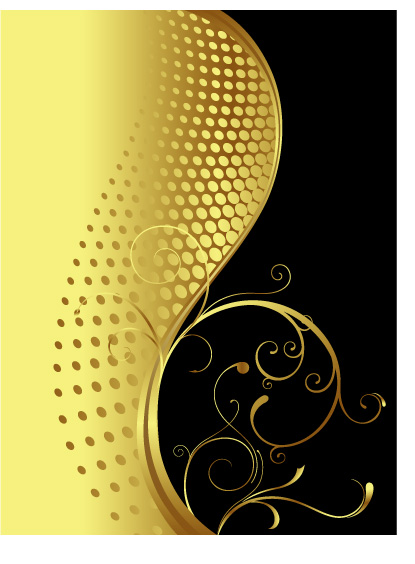 free vector Beautiful gold pattern pattern vector material