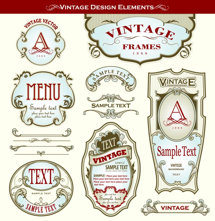 free vector Beautiful gorgeous bottle label affixed 03 vector