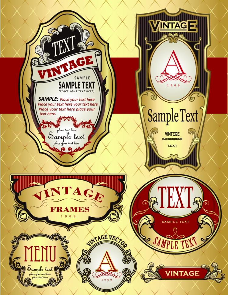Beautiful gorgeous bottle label affixed 04 vector Free Vector ...