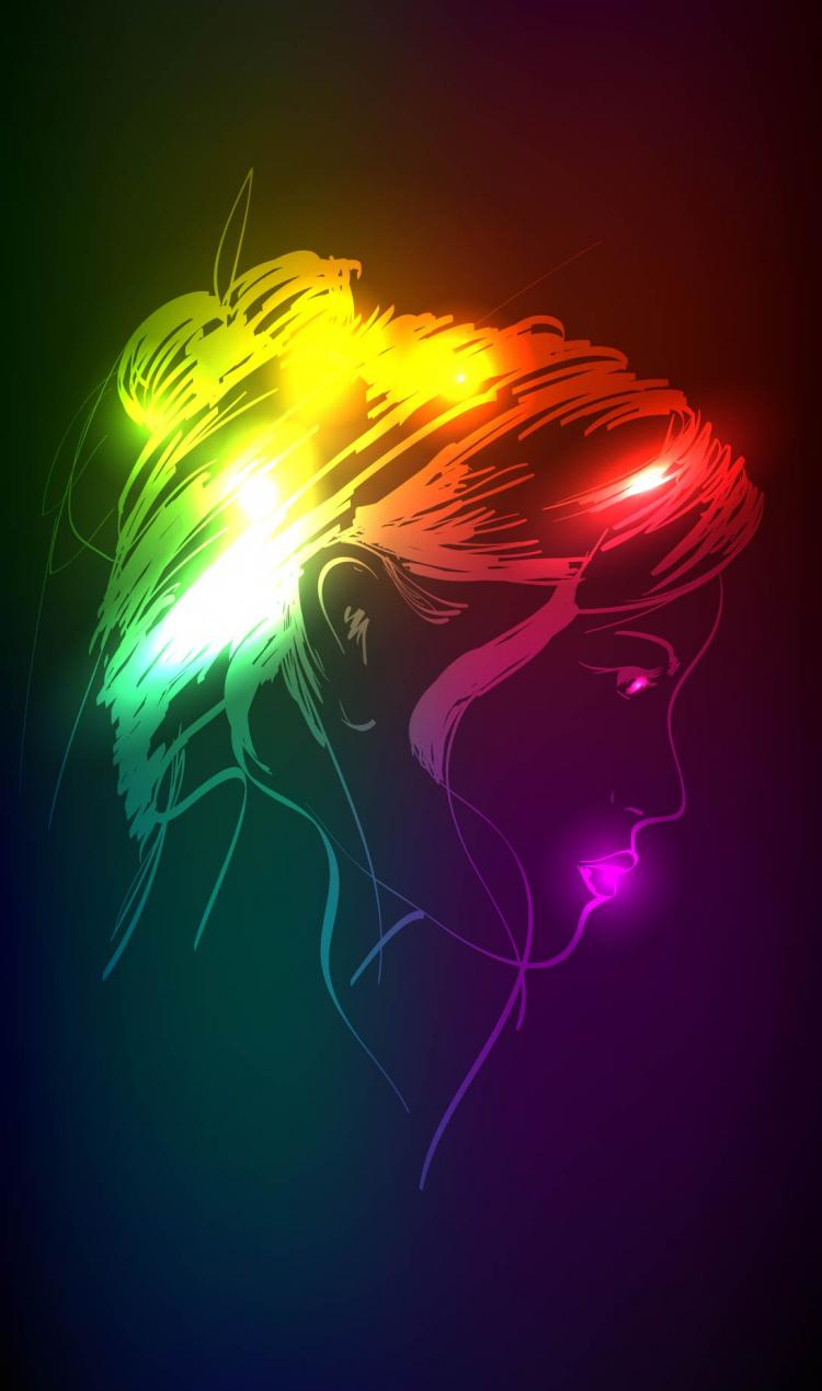 free vector Beautiful gorgeous neon silhouette 05 vector