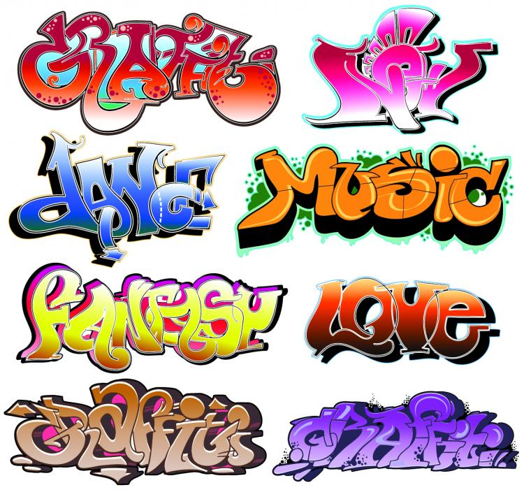 free vector Beautiful graffiti font design 02 vector