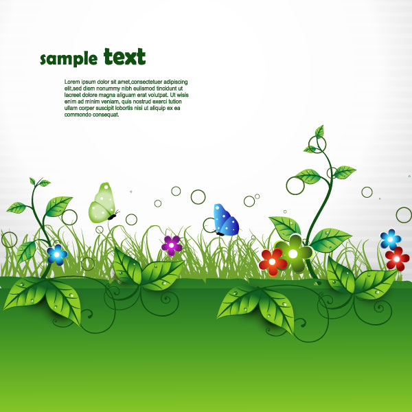 free vector Beautiful green cartoon background vector