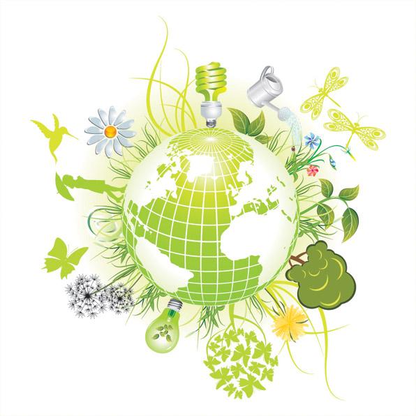 free vector Beautiful green theme icon vector