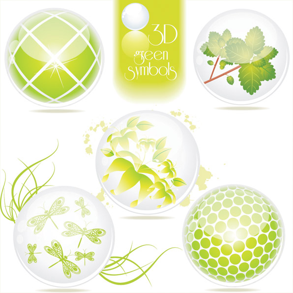 free vector Beautiful green theme icon vector