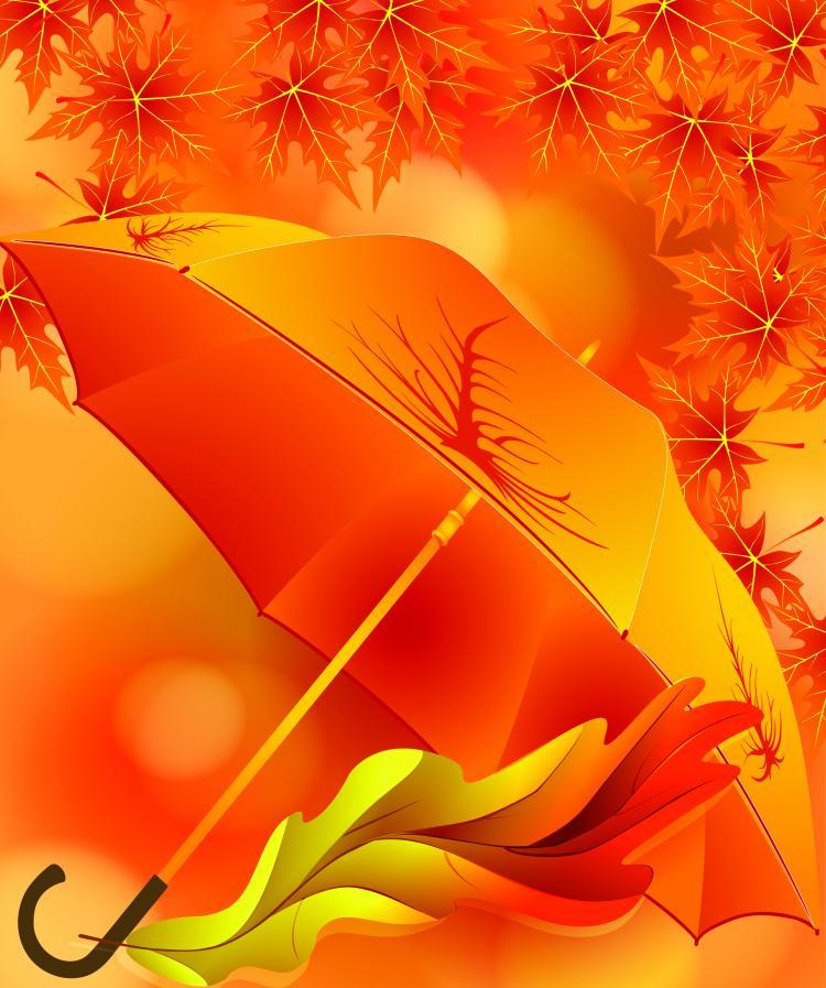 Beautiful Maple Leaf Umbrella (2524) Free EPS Download / 4