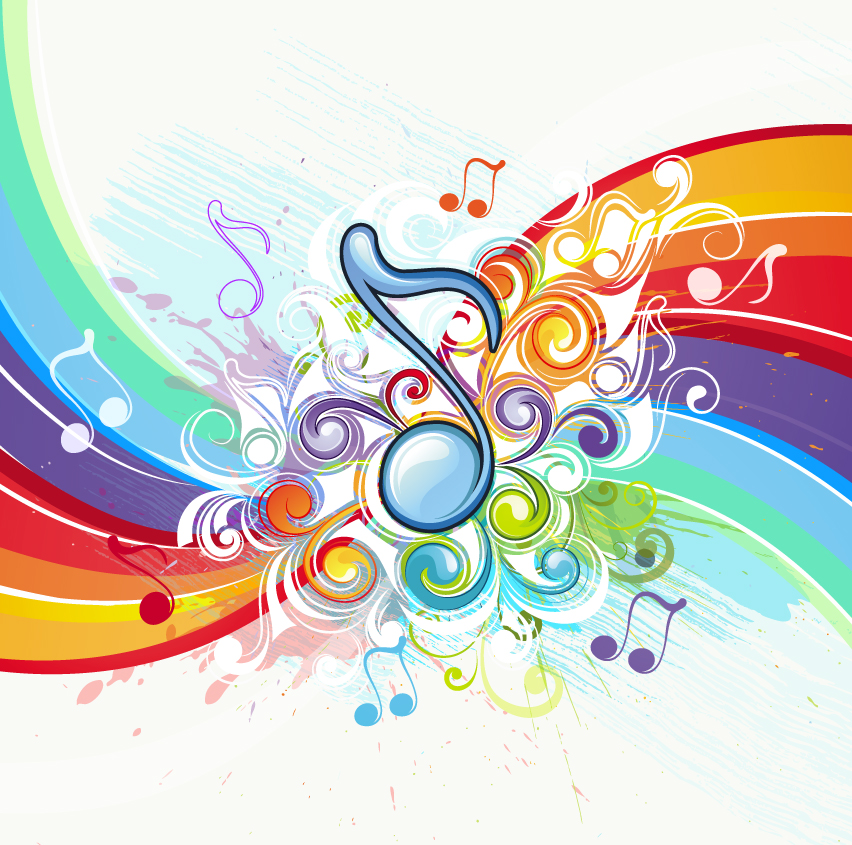 free vector Beautiful music pattern background 02 vector