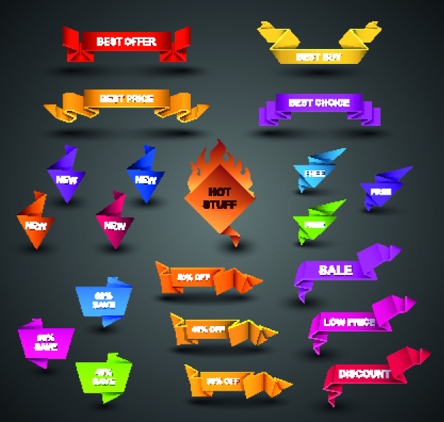 free vector Beautiful origami graphics 02 vector