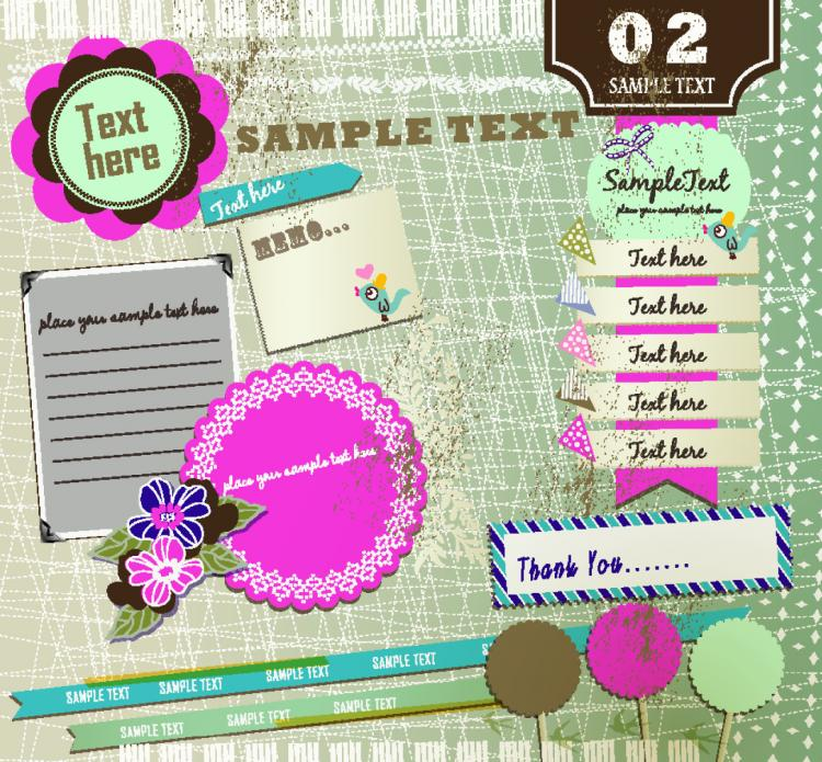 free vector Beautiful pink stickers element 01 vector