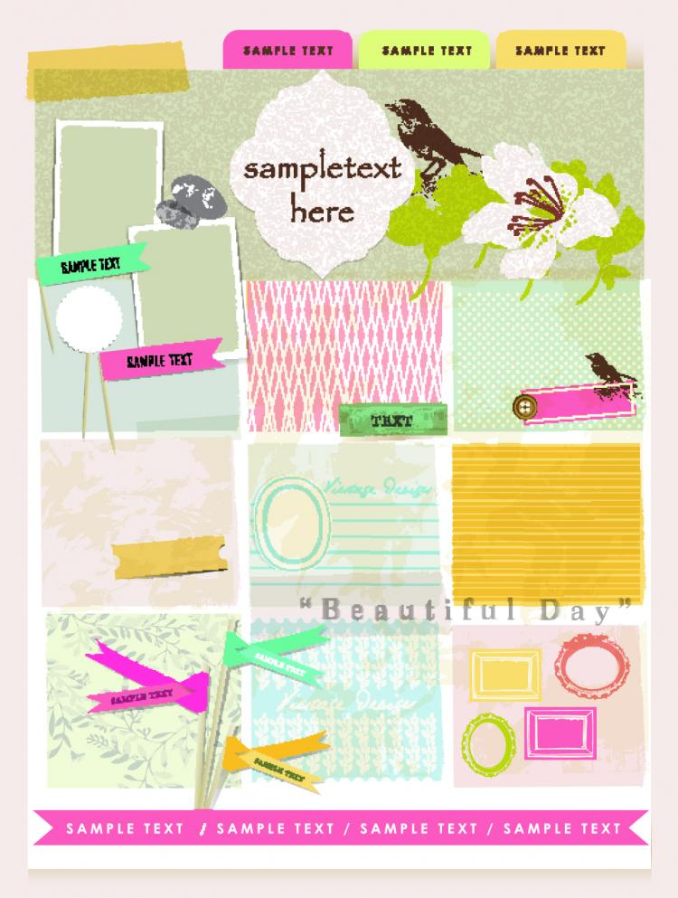 free vector Beautiful pink stickers elements 02 vector