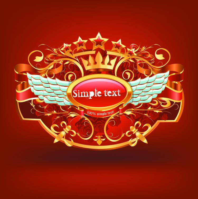 free vector Beautiful red label 03 vector