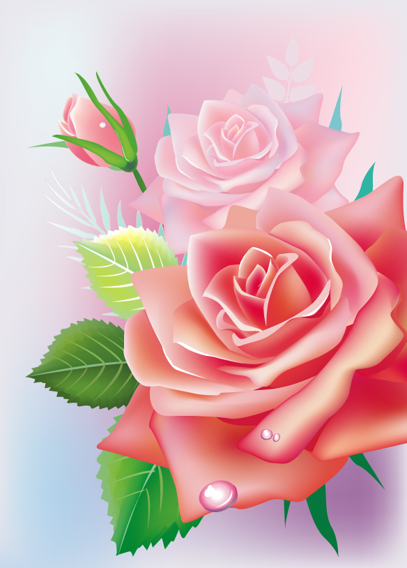 free vector Beautiful roses 02 vector