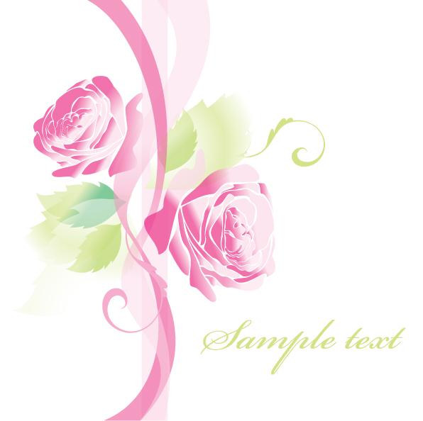 free vector Beautiful roses greeting cards 02 vector