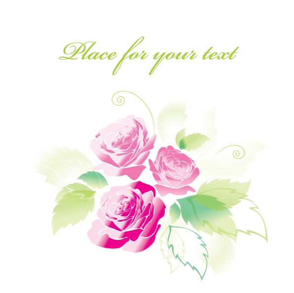 free vector Beautiful roses greeting cards 04 vector