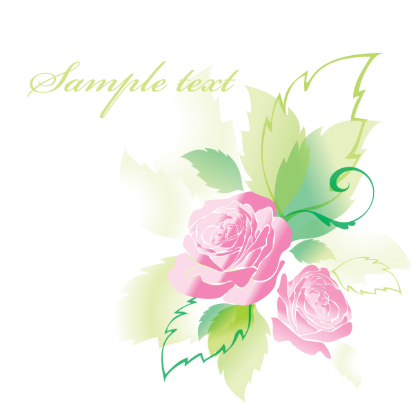 free vector Beautiful roses greeting cards 05 vector
