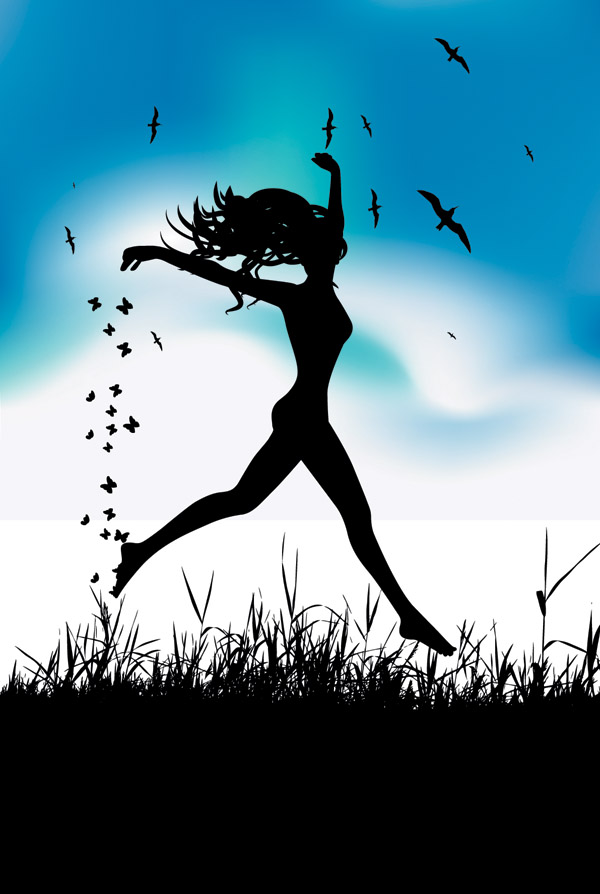 free vector Beautiful silhouette vector