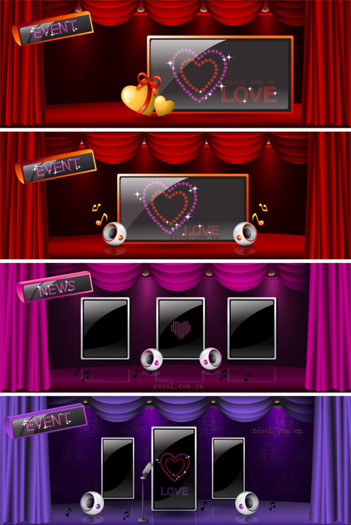 free vector Beautiful stage curtain vector 2