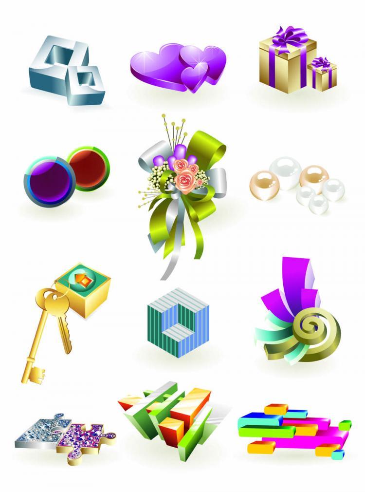free vector Beautiful threedimensional small icon 01 vector