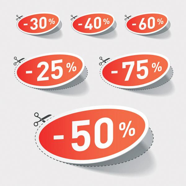 free vector Beautiful vector stickers discount sales