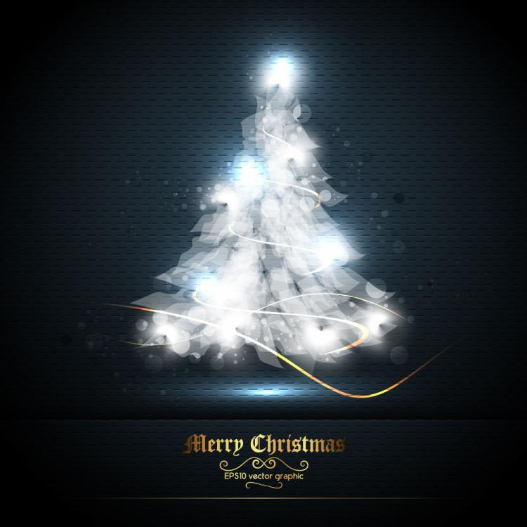 free vector Beautifully halo christmas tree 01 vector