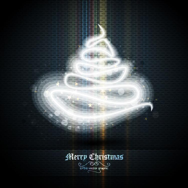 free vector Beautifully halo christmas tree 02 vector
