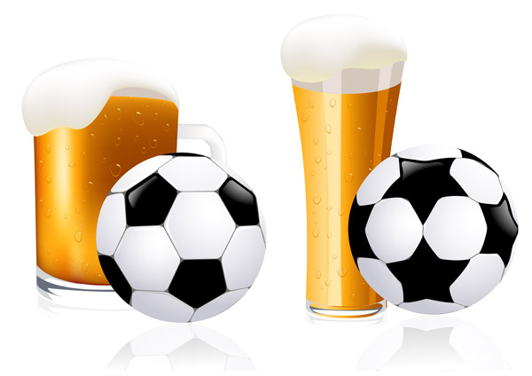 free vector Beer and football vector
