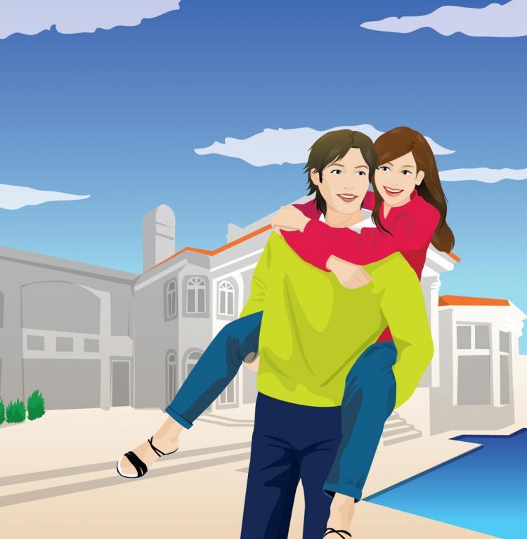 free vector Big Love, Happy Couple