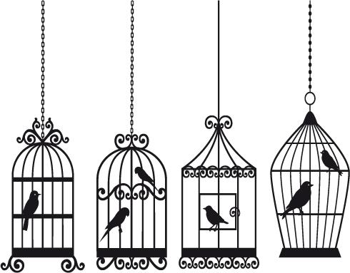 free vector Bird and birdcage vector