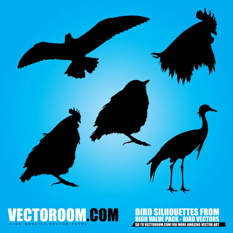 free vector Birds Silhouettes