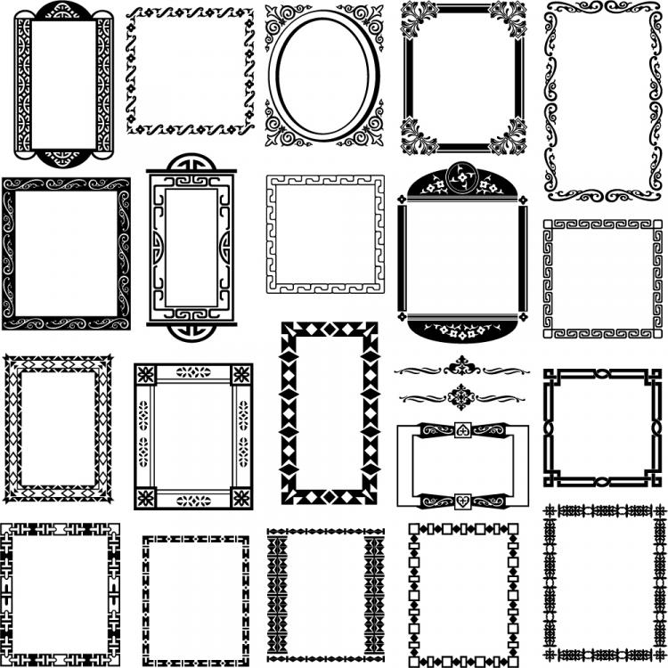 free vector Black and white border corner patterns 01 vector