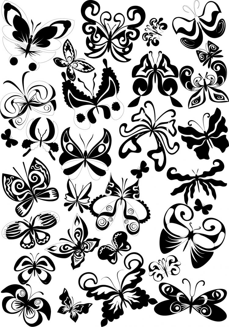 free vector Black and white butterfly element vector