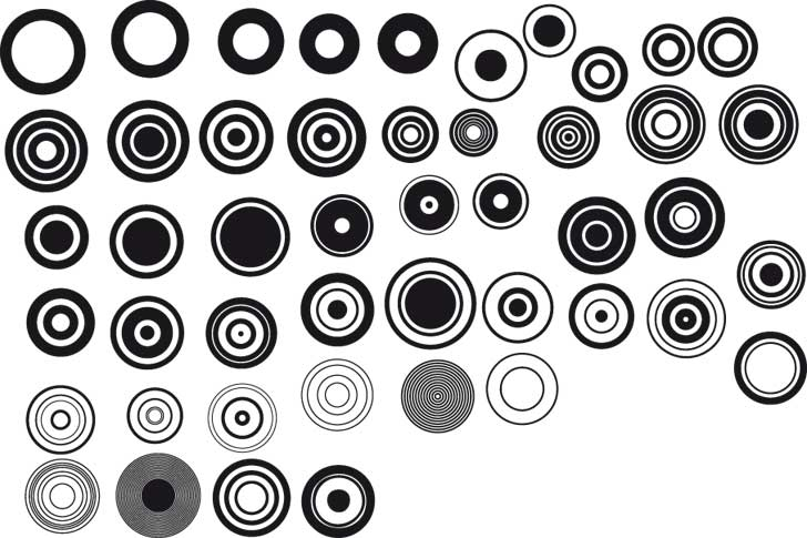 free vector Black and white design elements vector series 1 simple round