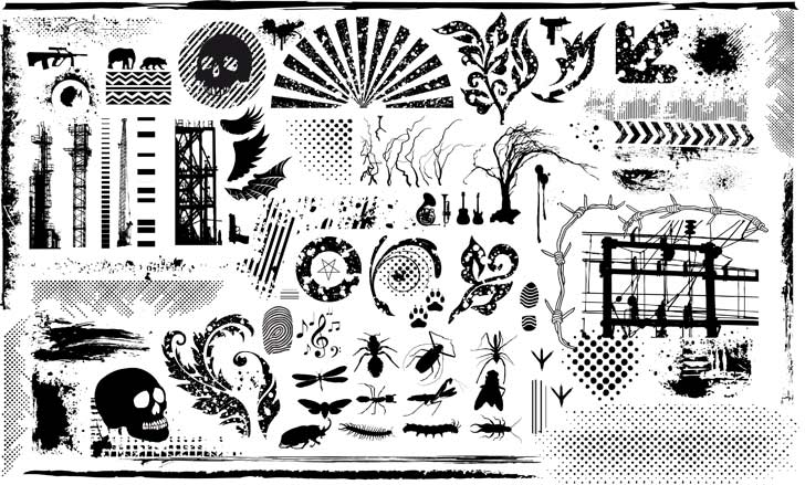 free vector Black and white design elements vector series 7 current element