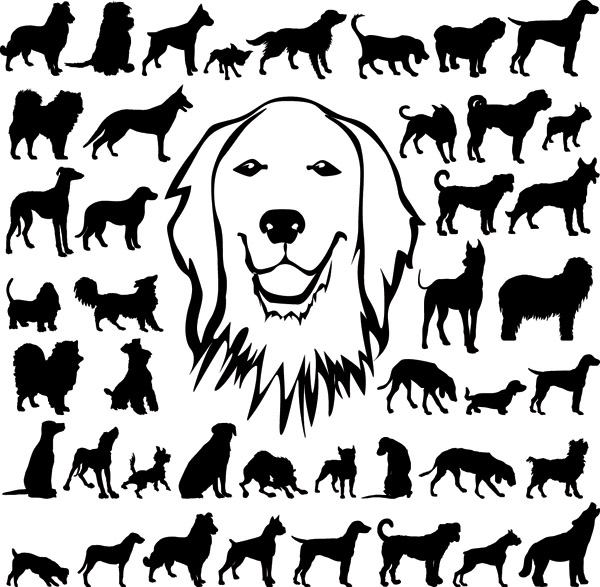 free vector Black and white dog silhouette vector