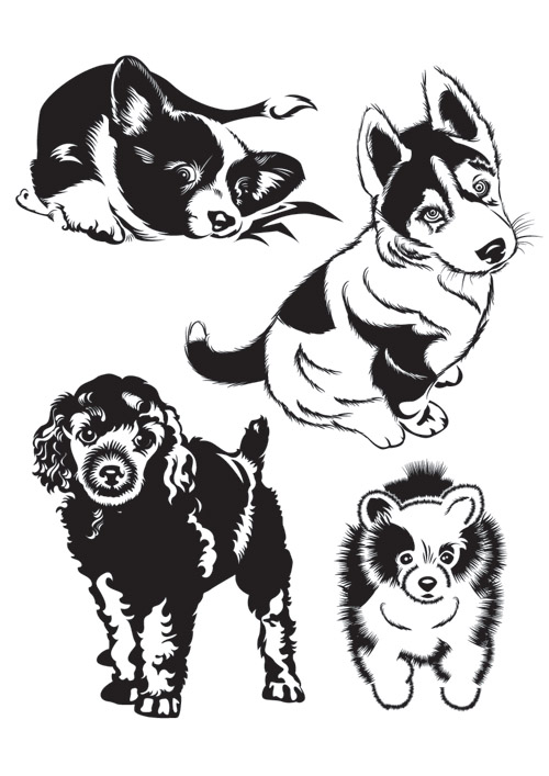 Black And White Dog Silhouette Vector Free Vector 4vector