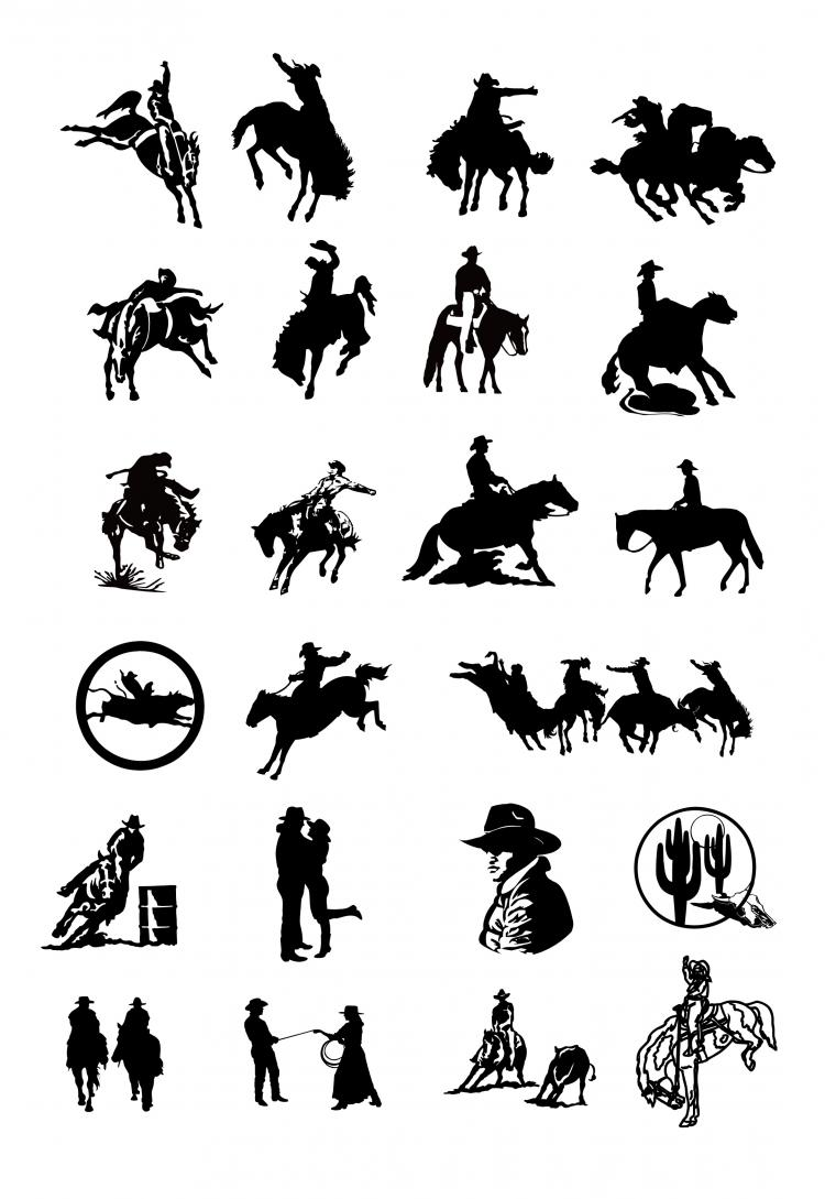 free vector Black and white drawing clip art cowboy series two