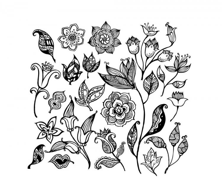 free vector Black and white flower pattern vector
