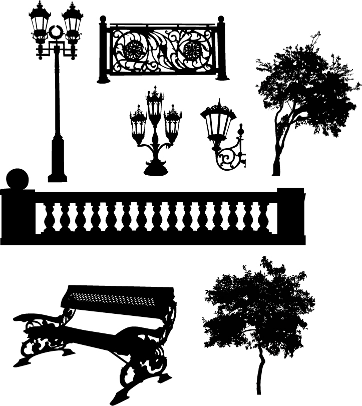 free vector Black and white lamps silhouette vector