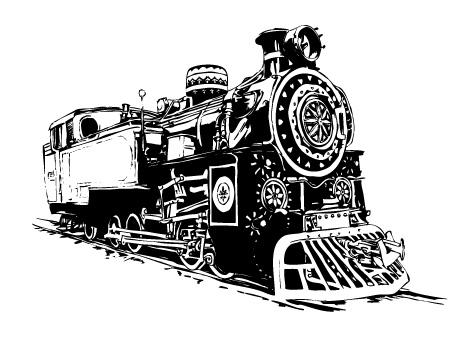 free vector Black and white locomotive vec