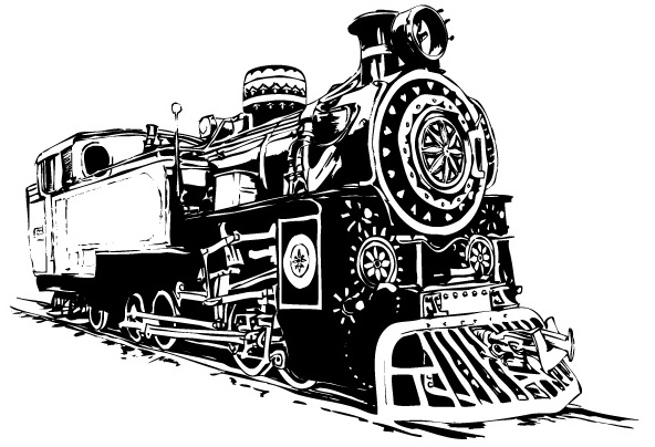 free vector Black-and-white Locomotive Vector