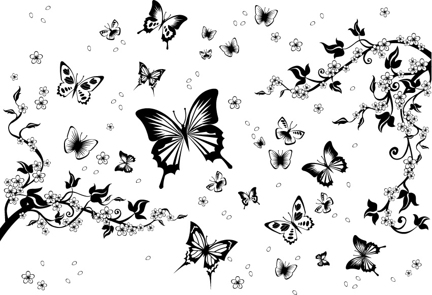 free vector Black-and-white pattern vector material