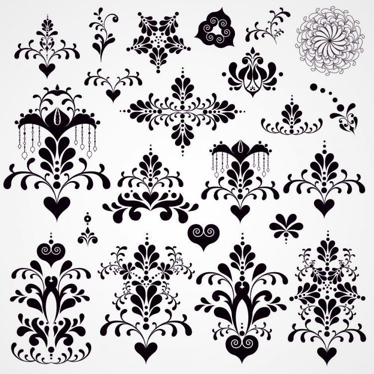 free vector Black and white patterns 02 vector