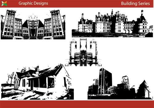 free vector Black and white silhouette urban architecture vector