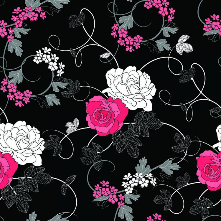 free vector Black background floral 01 vector