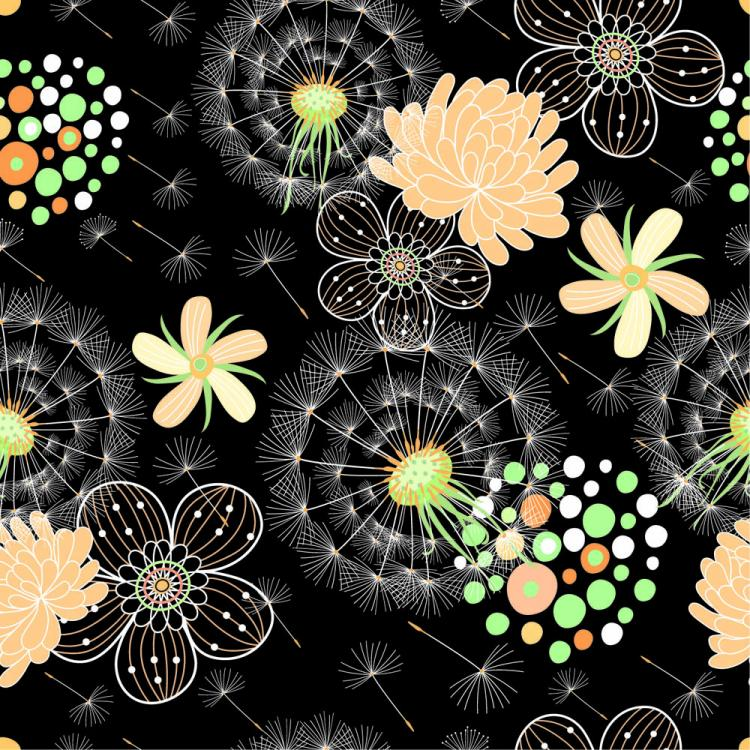 free vector Black background floral 04 vector