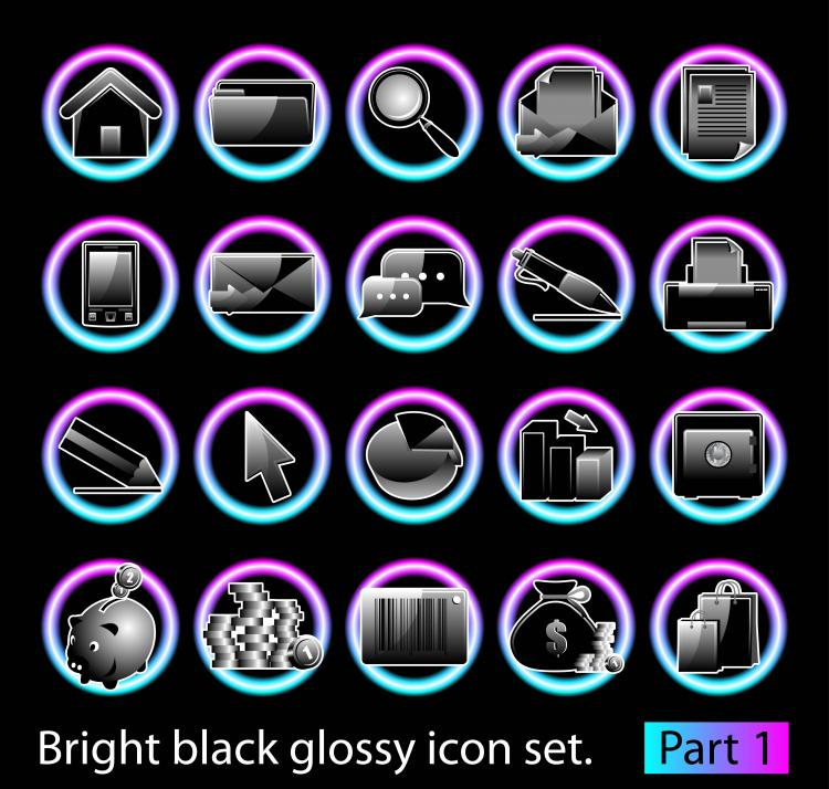 free vector Black glossy icon set 02 vector