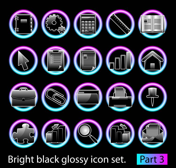free vector Black glossy icon set 03 vector