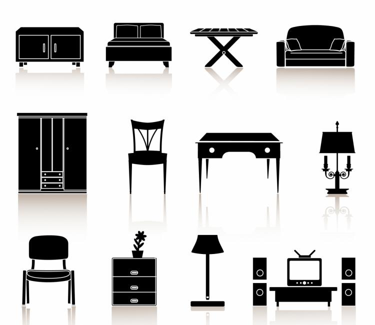 Black N White Icons Furniture Free Vector 4vector
