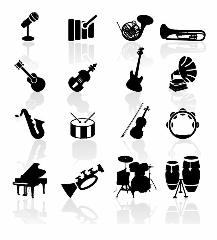 free vector Black symbols - musical instruments