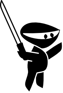 free vector Black White Sword Boy Cartoon Ninja clip art